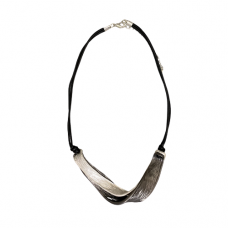Silver And Hematite Twist Corded Necklace