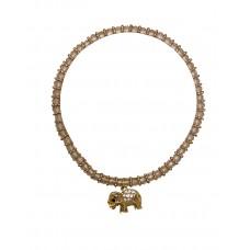 3 mm Crystal Bead Stretch Bracelet With Gold Elephant Charm - Light Pink