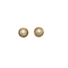 Pearl Post Earrings in Gold