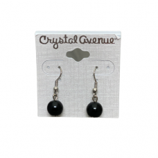 8mm Black Bead Wire Earrings