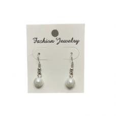 8mm Pearl Wire Earrings - White