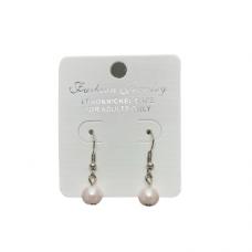 8mm Pearl Wire Earrings - Pink