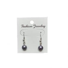 8mm Pearl Wire Earrings - Gray