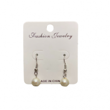 8mm Pearl Wire Earrings - Cream
