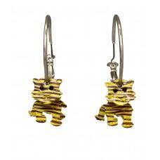 3-D Enamel Tiger Silver Hoop Earrings - Purple and Gold