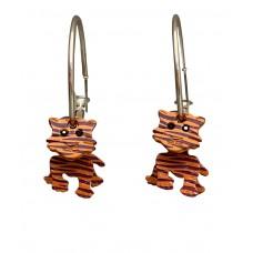 3-D Enamel Tiger Silver Hoop Earrings - Purple and Orange