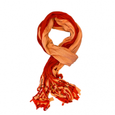 Two Tone Jersey Knit Scarf with Shred Edge - Coral