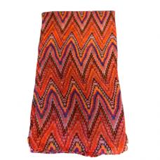 Lightweight Pastel Zigzag Scarf - Red