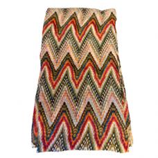 Lightweight Pastel Zigzag Scarf - Beige