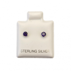 Sterling Silver Birthstone Post Earrings - Amethyst (February)