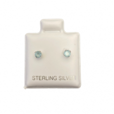 Sterling Silver Birthstone Post Earrings - Aquamarine (March)