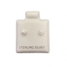 Sterling Silver Birthstone Post Earrings - Diamond (April)