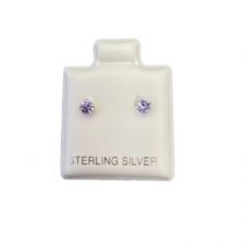 Sterling Silver Birthstone Post Earrings - Alexandrite (June)