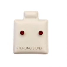 Sterling Silver Birthstone Post Earrings - Ruby (July)