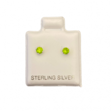 Sterling Silver Birthstone Post Earrings - Peridot (August)