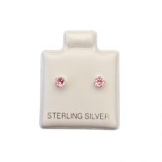Sterling Silver Birthstone Post Earrings - Pink Tourmaline (October)