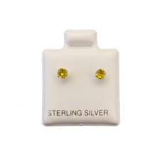 Sterling Silver Birthstone Post Earrings - Citrine (November)