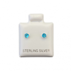 Sterling Silver Birthstone Post Earrings - Blue Topaz (December)